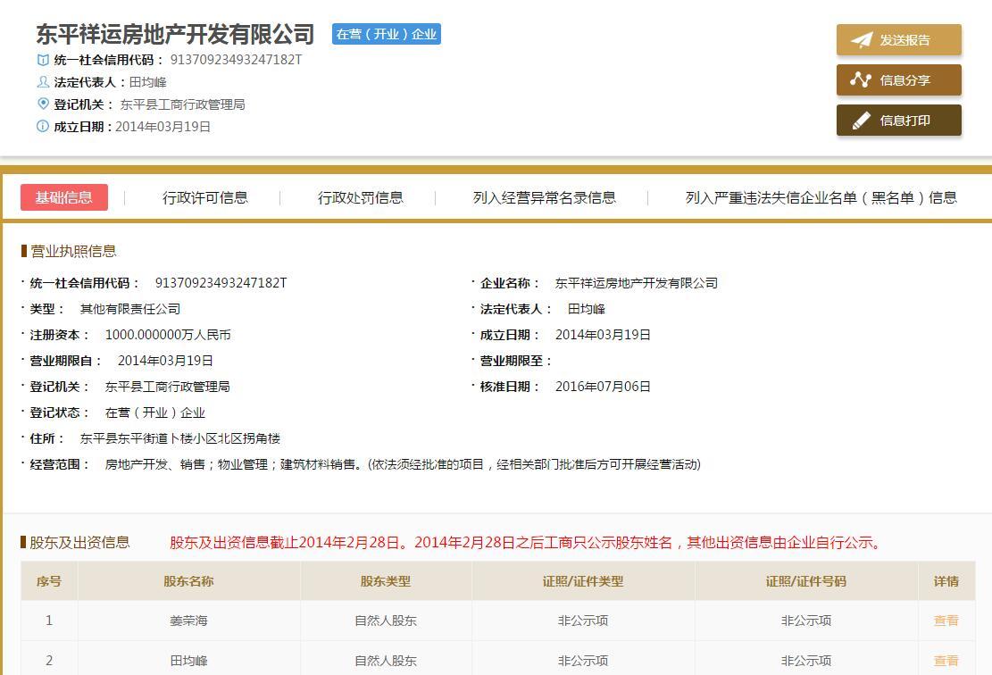 东平祥运房地产开发有限公司