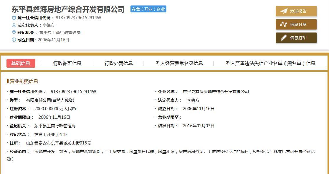 东平县鑫海房地产综合开发有限公司